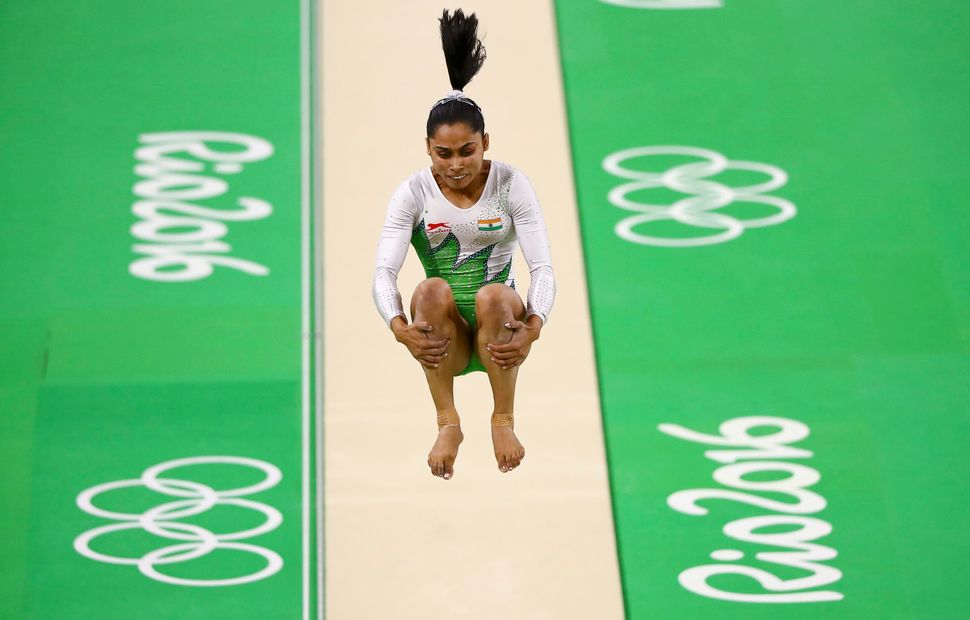 Dipa Karmakar competes on the vault during the women's qualifications.