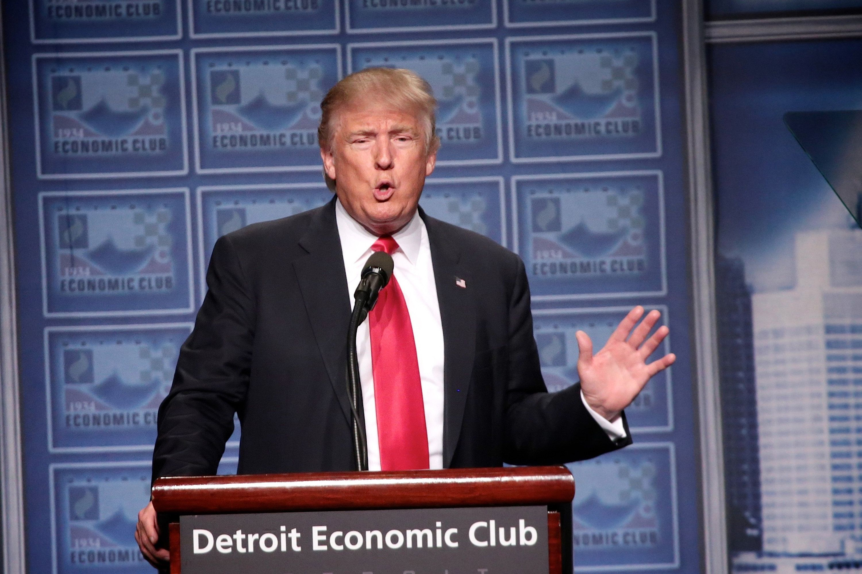 Republican nominee Donald Trump speaks to the Detroit Economic Club at Cobo Center on Monday Aug. 8, 2016 in downtown Detroit, Mich. (Salwan Georges/Detroit Free Press/TNS via Getty Images)