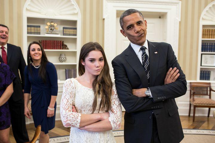 U.S. Olympian McKayla Maroney and President Barack Obama are not impressed.