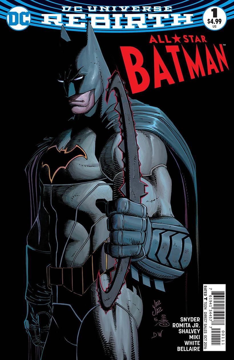The cover for All Star Batman #1 on sale August 10, 2016.