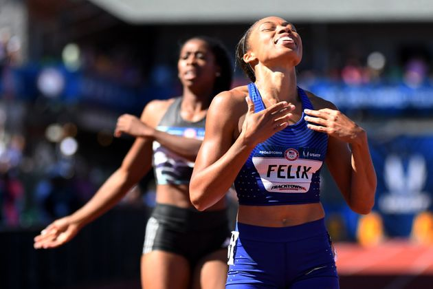 Allyson Felix reacts after competing during the women's 400m final in the 2016 U.S. Olympic track...