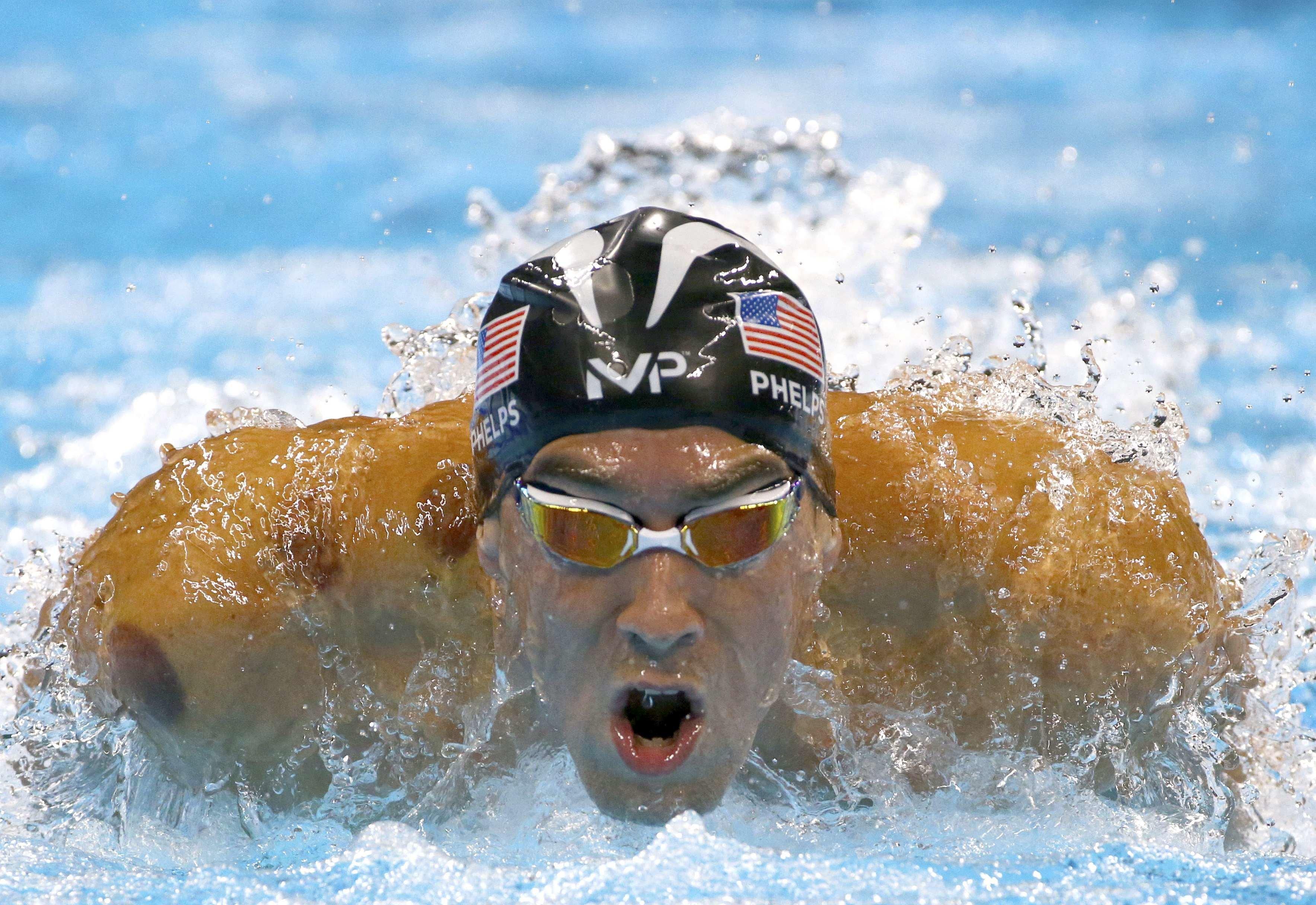 Michael Phelps swimming in the men's 200m butterfly semifinal in Rio de Janeiro, Brazil in 2016.