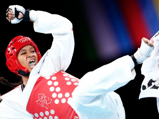 Paige McPherson of the U.S. fights against Slovenia's Franka Anic during their women's -67kg bronze medal...