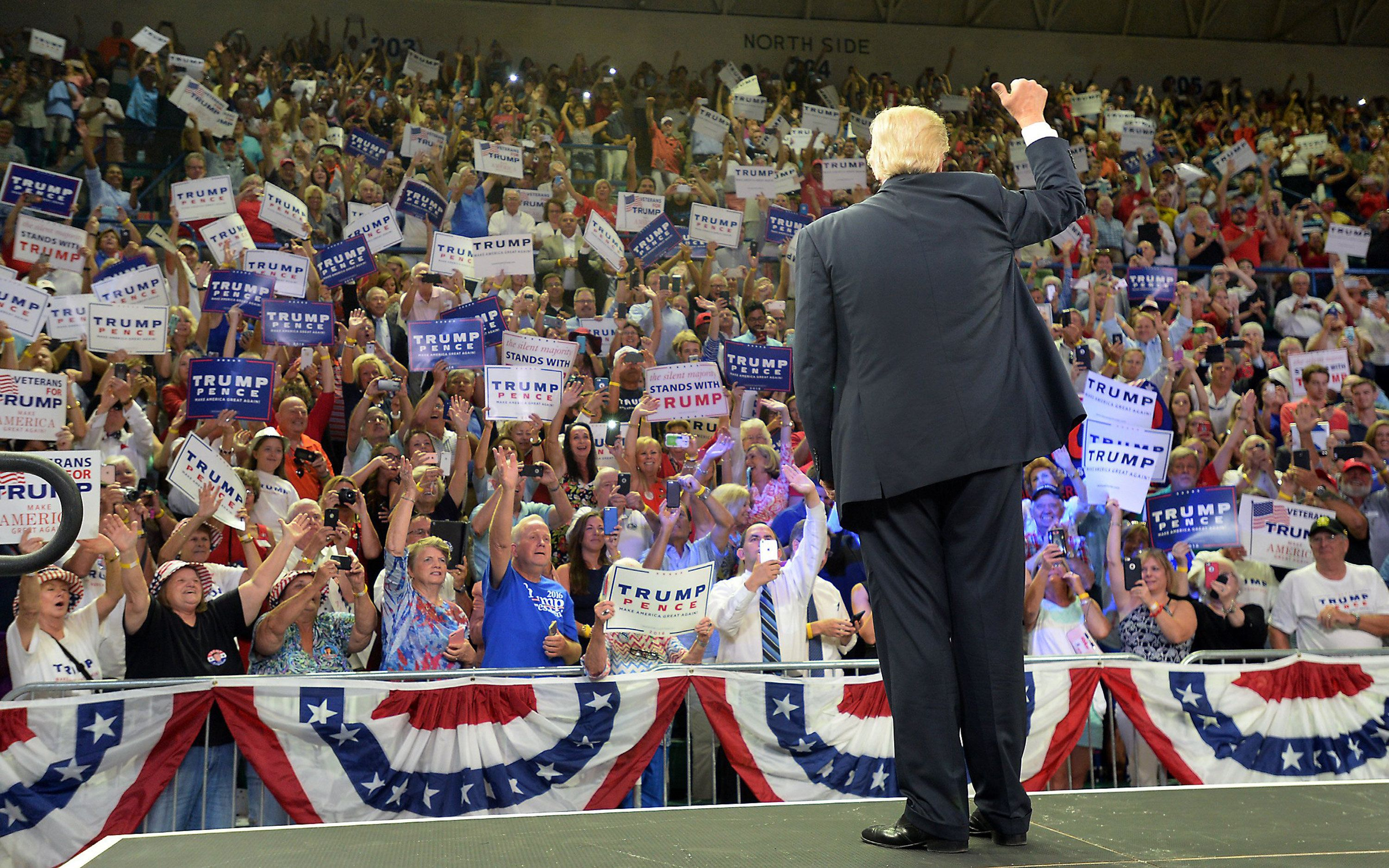 Republican presidential candidate Donald Trump gives a thumbs up to the crowd as he takes the stage Tuesday, Aug. 9, 2016 at the Trask Coliseum on the campus of University of North Carolina at Wilmington in Wilmington, N.C. (Chuck Liddy/Raleigh News & Observer/TNS via Getty Images)