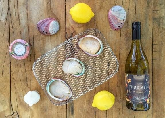The best of the California Central Coast - Grilled Abalone Streaks and True Myth Chardonnay