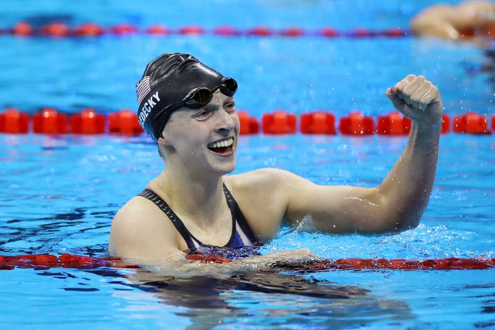 Katie Ledecky celebrates after winning the Women's 200m Freestyle final on Tuesday night.