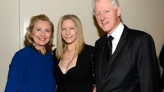 NEW YORK, NY - APRIL 22:  (Exclusive Coverage) Former US Secretary of State Hillary Clinton, Barbra Streisand and Former US President Bill Clinton backstage at the 40th Anniversary Chaplin Award Gala at Avery Fisher Hall at Lincoln Center for the Performing Arts on April 22, 2013 in New York City.  (Photo by Kevin Mazur/WireImage)