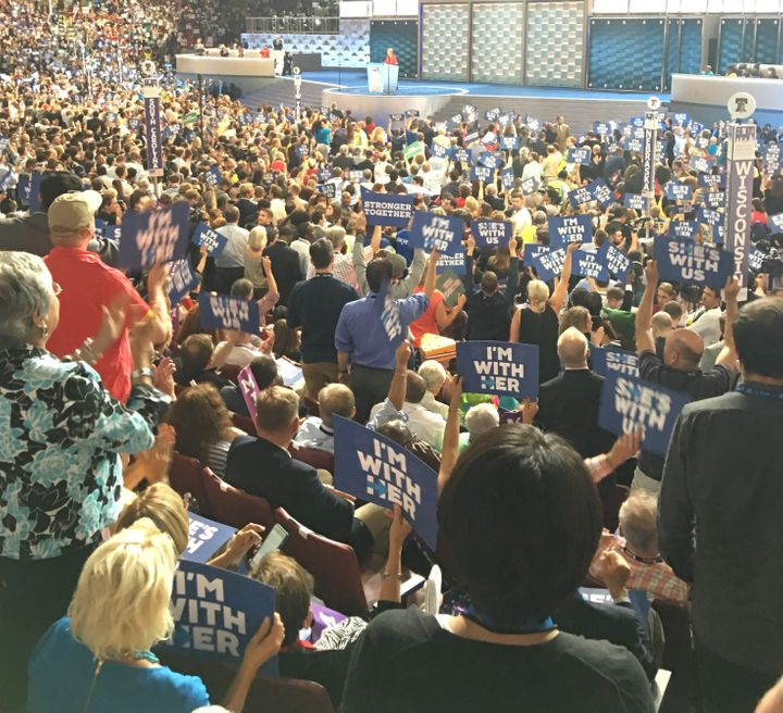 Clinton delegates show their support at the 2016 Democratic National Convention.