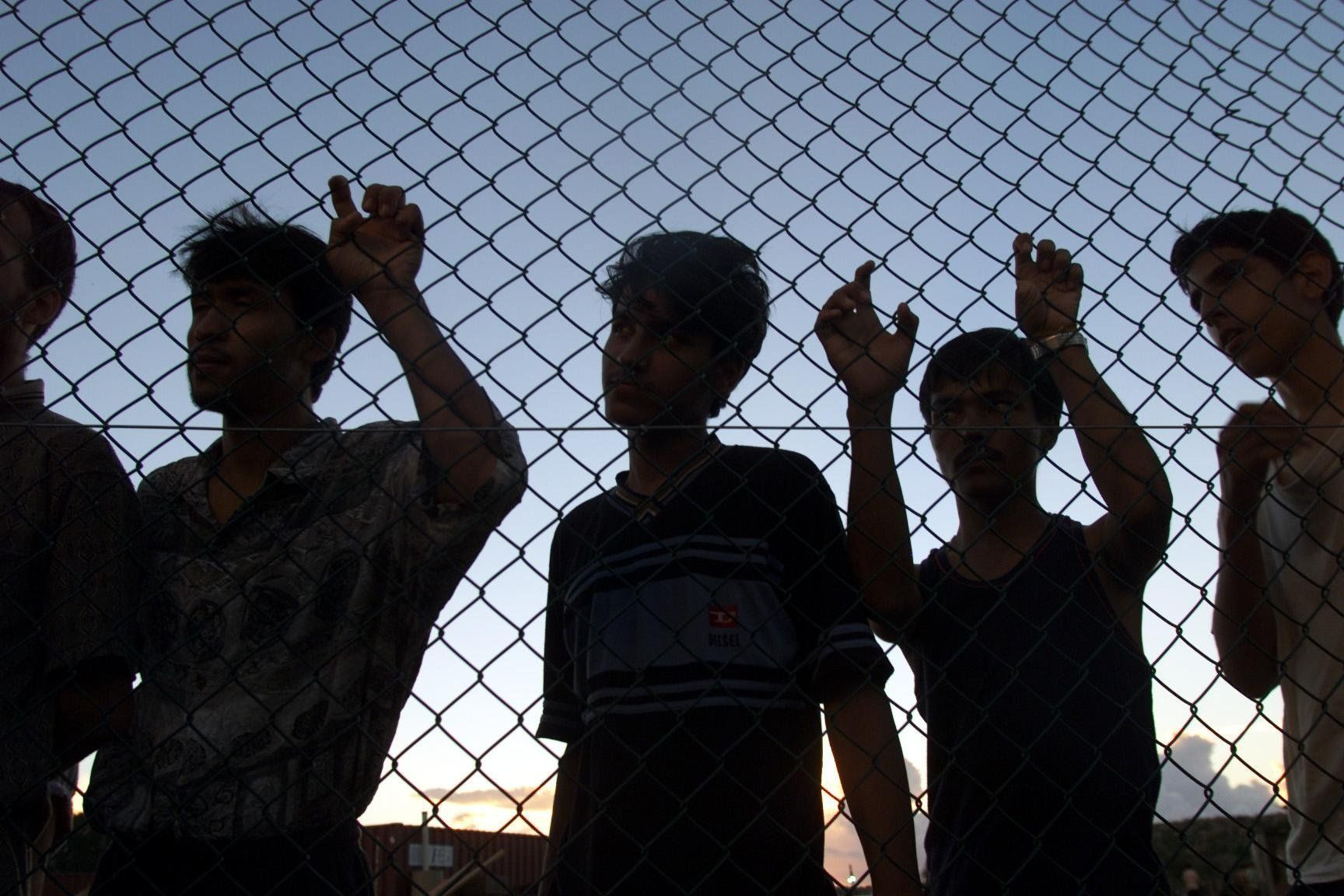 (AUSTRALIA & NEW ZEALAND OUT) Asylum seekers on their first day in the compound at Nauru after their long voyages on the Tampa, Aceng and Manoora, 19 September 2001. The AGE Picture by ANGELA WYLIE (Photo by Fairfax Media/Fairfax Media via Getty Images)