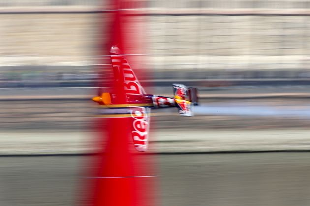 Hungary pilot Peter Besenyei flies his Edge 540 V3 aircraft during the qualifying session of the Red...