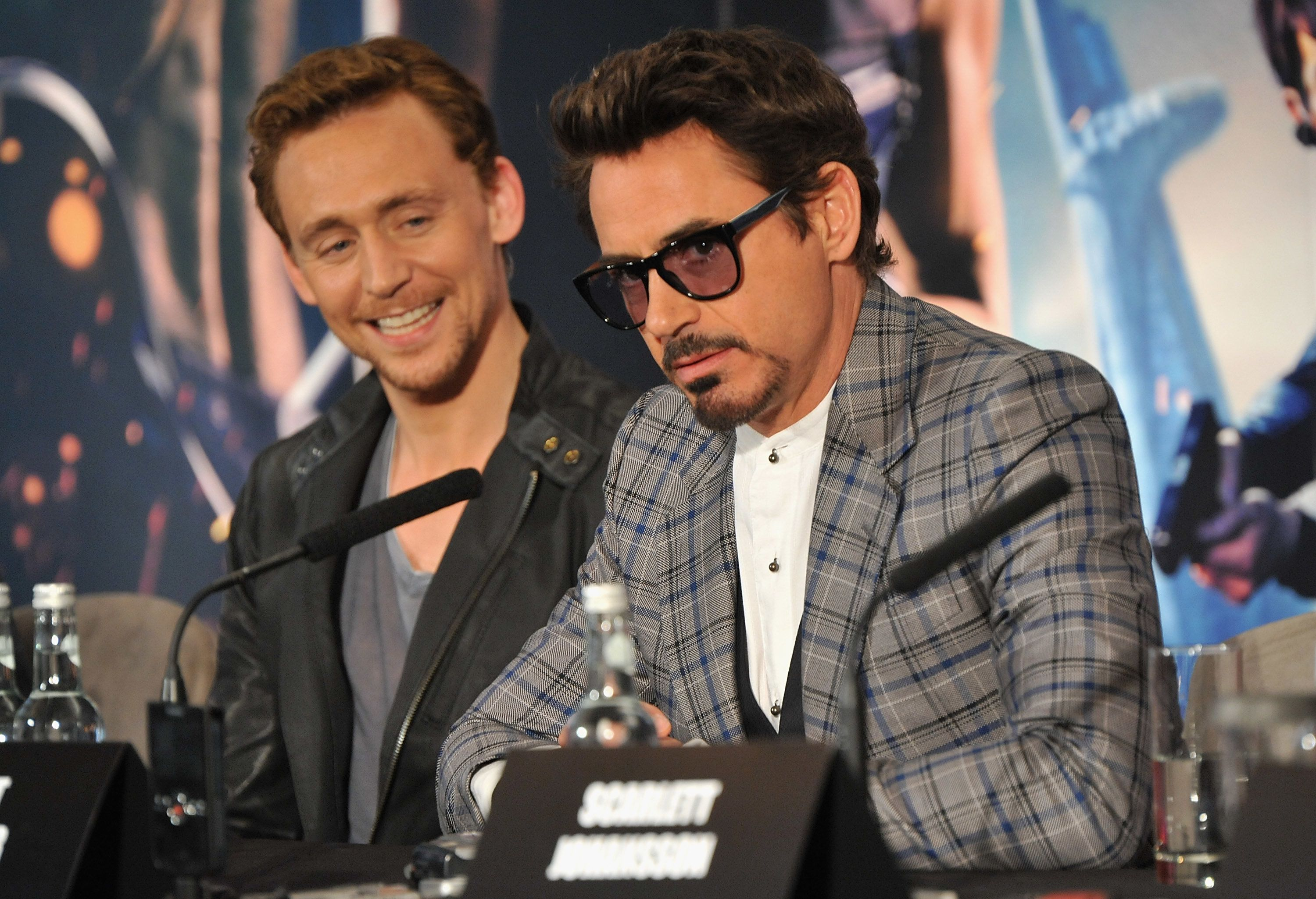 LONDON, ENGLAND - APRIL 19:  (EXCLUSIVE COVERAGE)   Actors Tom Hiddleston and Robert Downey Jr attend Marvel Studios' 'Avengers Assemble' Press Conference at Claridge's Hotel on April 19, 2012 in London, England.  (Photo by Jon Furniss/WireImage)