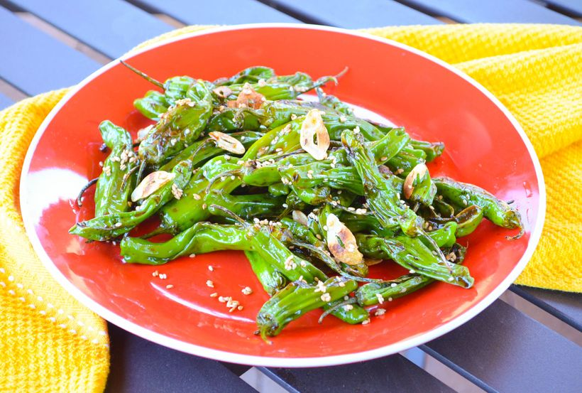 """<a href=""""http://www.michelledudash.com/2016/04/06/blistered-shishito-peppers-with-garlic-chips/"""">Blistered Shishito Peppers w"""