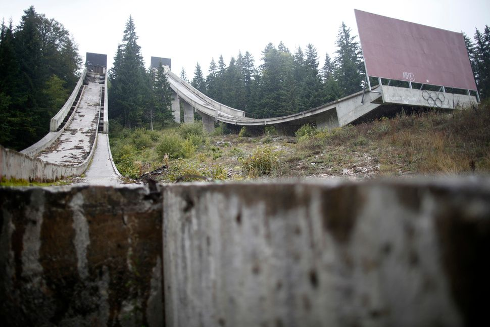A view of the disused ski jump from the Sarajevo 1984 Winter Olympics on Mount Igman, Sept. 19, 2013.