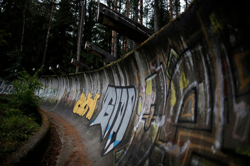 A view of the disused bobsleigh track from the Sarajevo 1984 Winter Olympics on Mount Trebevic, Sept. 19, 2013.