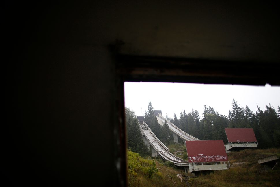 A view of the disused ski jump from the Sarajevo 1984 Winter Olympics on Mount Igman in 2013.