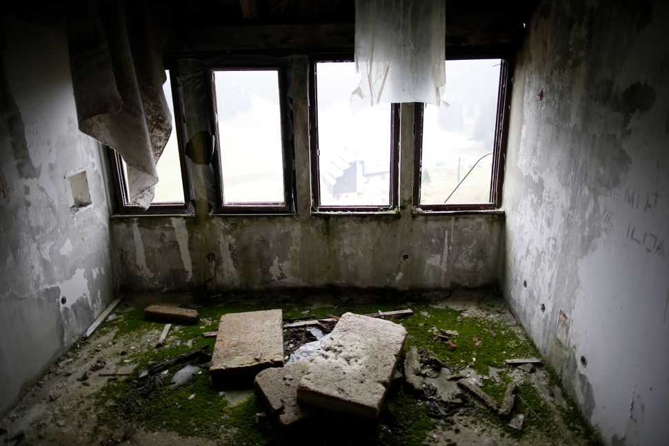 A view of the disused judges room for the ski jump from the Sarajevo 1984 Winter Olympics in 2013.