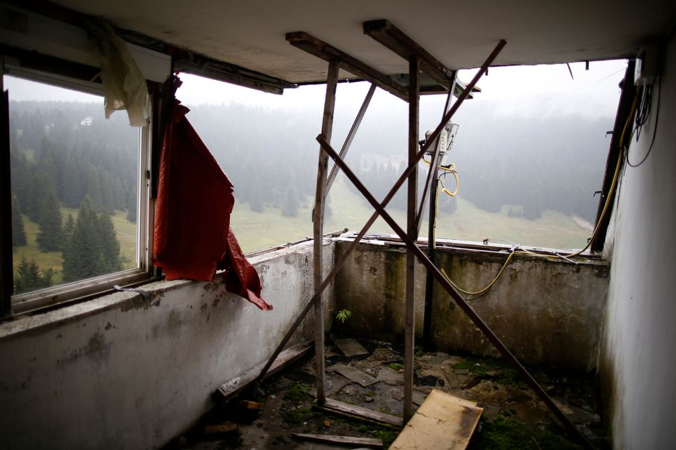 A view of the disused judges room for the ski jump from the Sarajevo 1984 Winter Olympics.