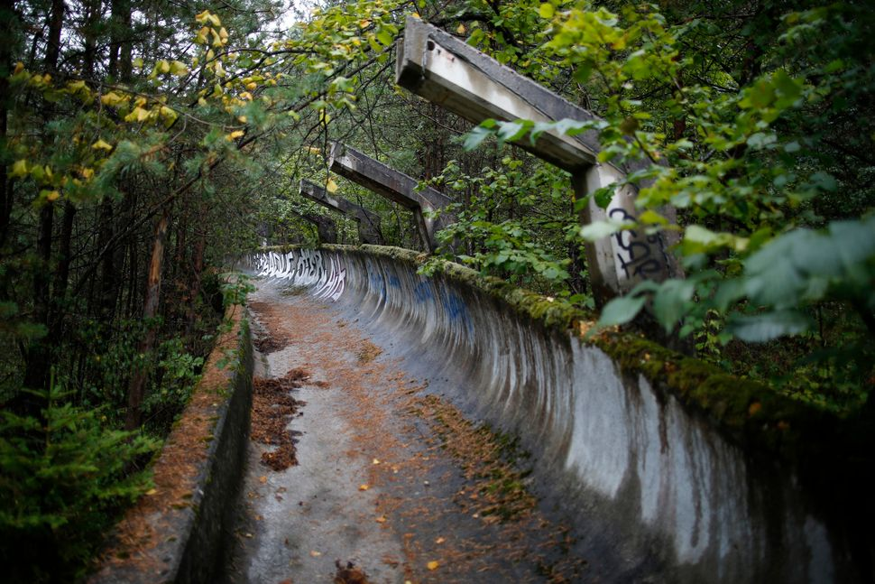 The disused bobsleigh track from the Sarajevo 1984 Winter Olympics is seen on Mount Trebevic, Sept. 19, 2013.