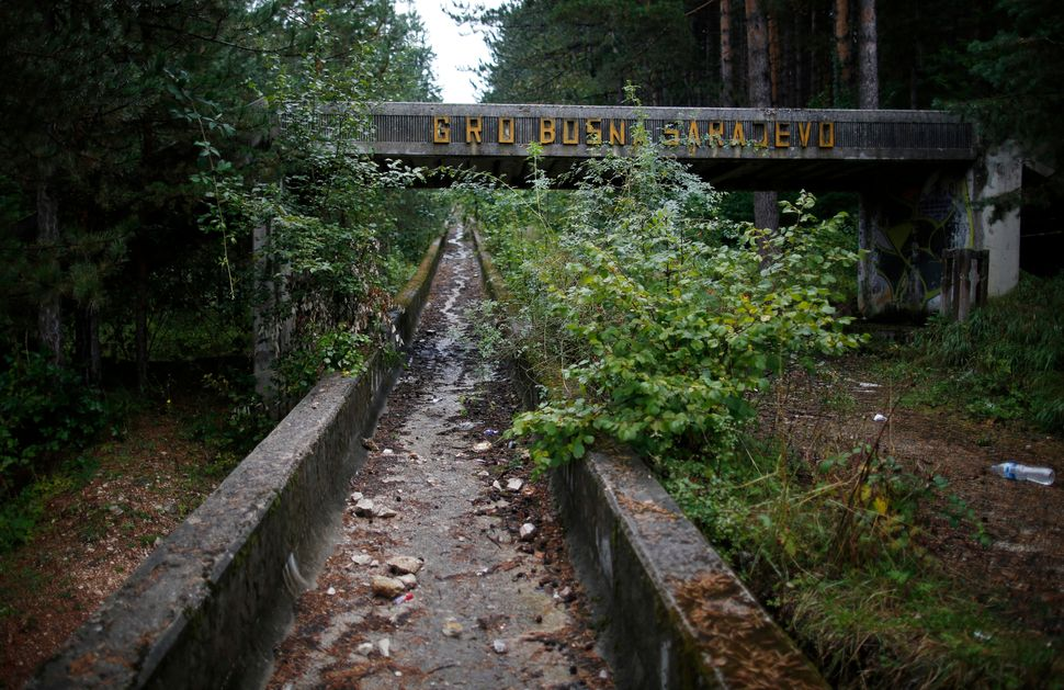 The disused bobsleigh track from the Sarajevo 1984 Winter Olympics is seen in 2013.
