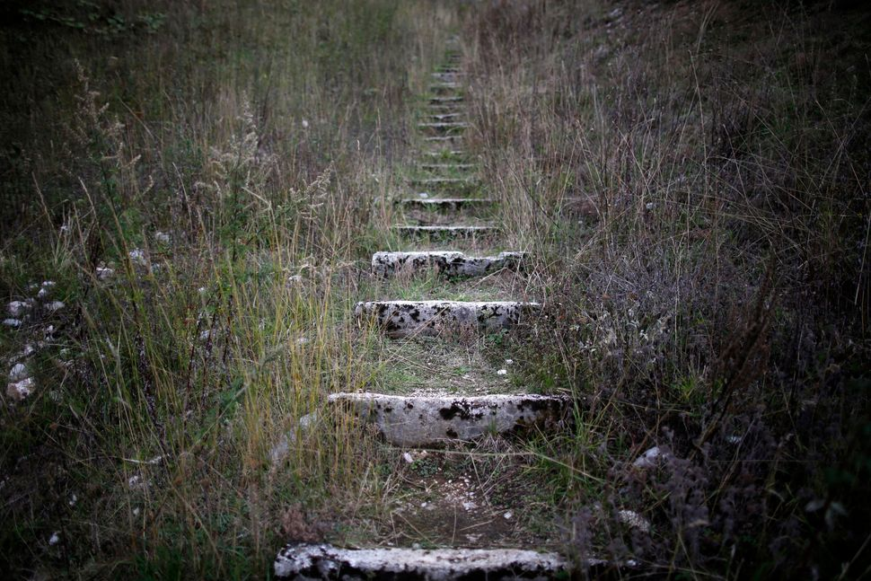 A view of worn stone steps which lead to the disused ski jump from the Sarajevo 1984 Winter Olympics in 2013.