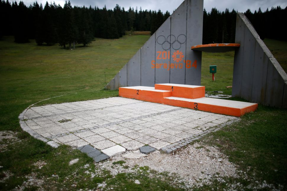 A view of the derelict medals podium at the disused ski jump from the Sarajevo 1984 Winter Olympics in 2013.