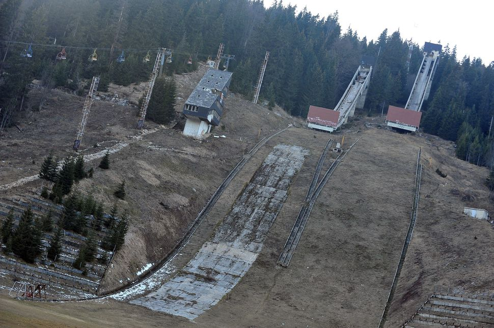 A picture taken on Feb. 5, 2014, shows Sarajevo's abandoned ski jumping venue at Mt. Igman.