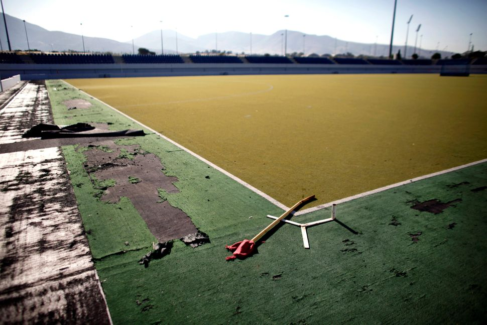A view of the disused Olympic field hockey stadium in Athens on June 11, 2012.