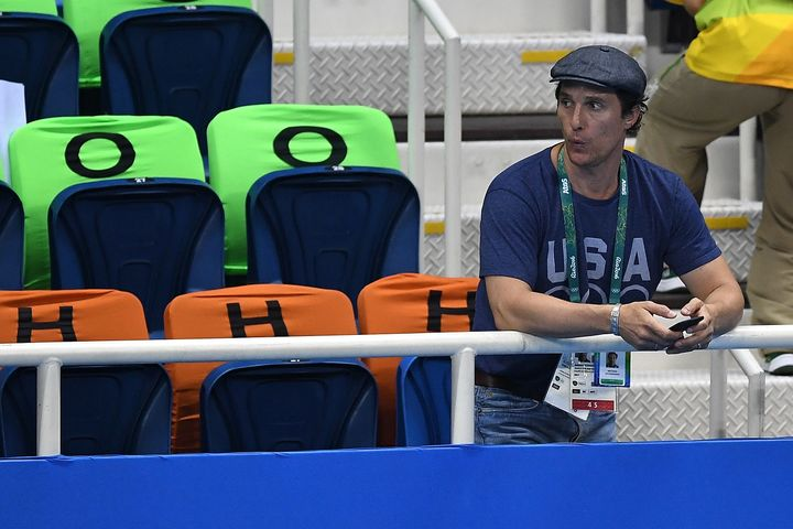 U.S. actor Matthew McConaughey attends swimming finals on Day 3 of the Rio 2016 Olympic Games at the Olympic Aquatics Stadium