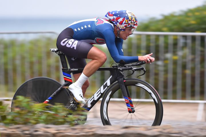 Kristin Armstrong, who turns 43 on Thursday, won her third straight Olympic road time-trial gold medal.