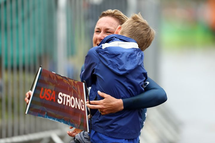 Armstrong celebrates with her son Lucas.