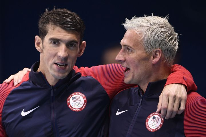Phelps (left) and Lochte celebrate gold at the 2016 Olympic games.