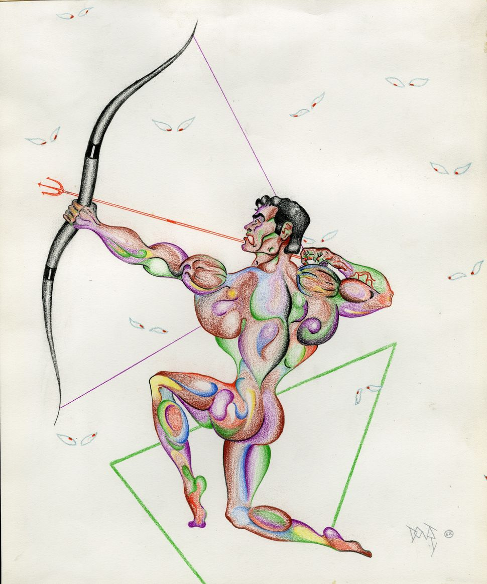 """Don Tonry Archer,"" 1952, graphite and crayon on paper."