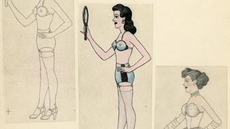 """Anonymous, """"Man Cross Dressing,"""" Mid 20th Century, Graphite and colored pencil on paper"""
