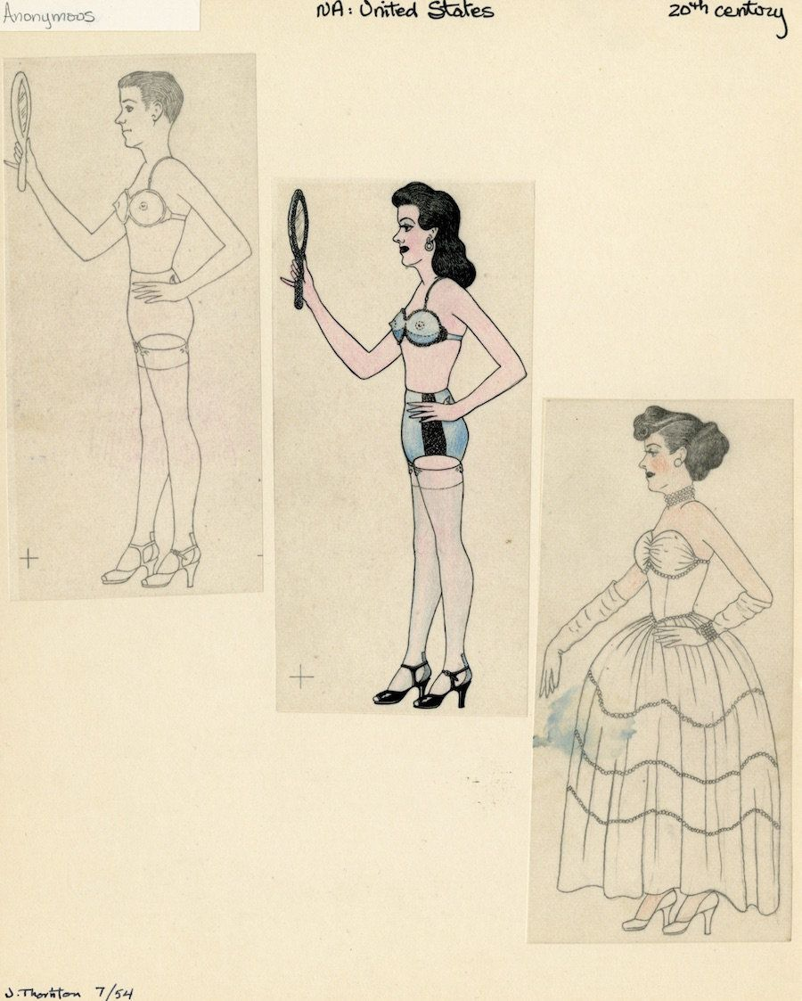 """Anonymous, """"Man Cross Dressing,"""" Mid 20th century, graphite and colored pencil on paper."""