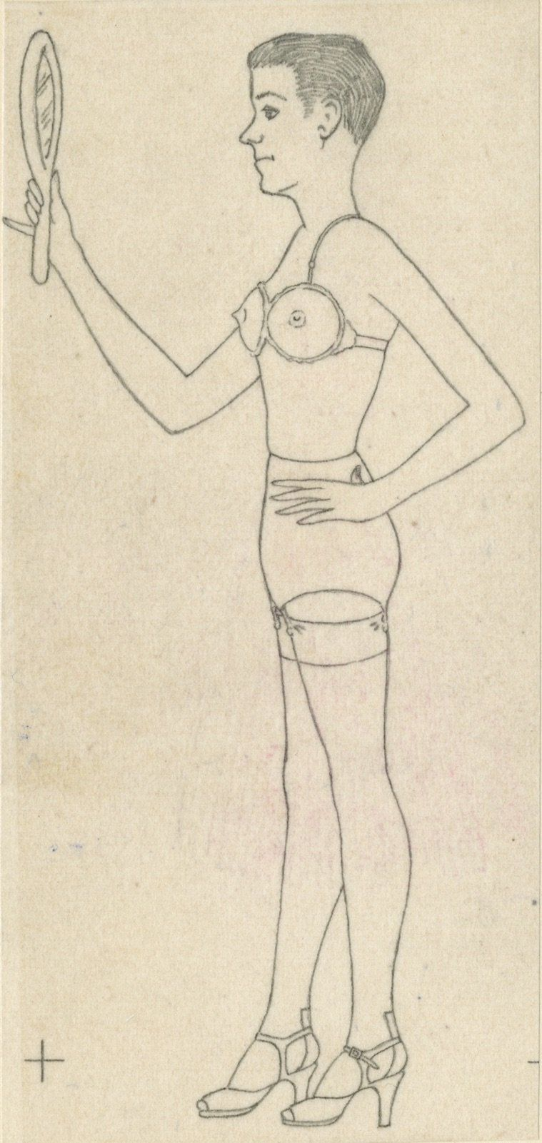 "Anonymous, ""Man Cross Dressing,"" Mid 20th century, graphite and colored pencil on paper."