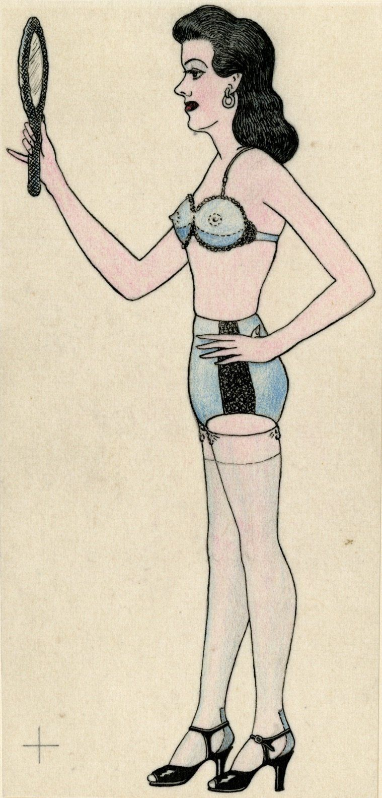 "Anonymous, ""Man Cross Dressing,"" Mid 20th century, graphite and colored pencil on paper.<i></i>"