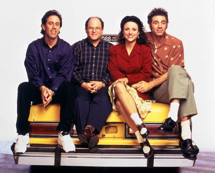 SEINFELD -- Season 6 -- Pictured: (l-r) Jerry Seinfeld as Jerry Seinfeld, Jason Alexander as George Costanza, Julia Louis-Dre