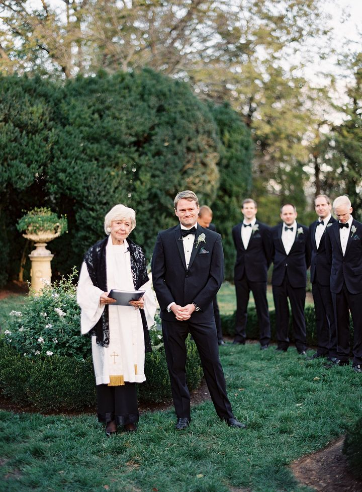 Nanny and the groom got emotional as the brideentered the ceremony.