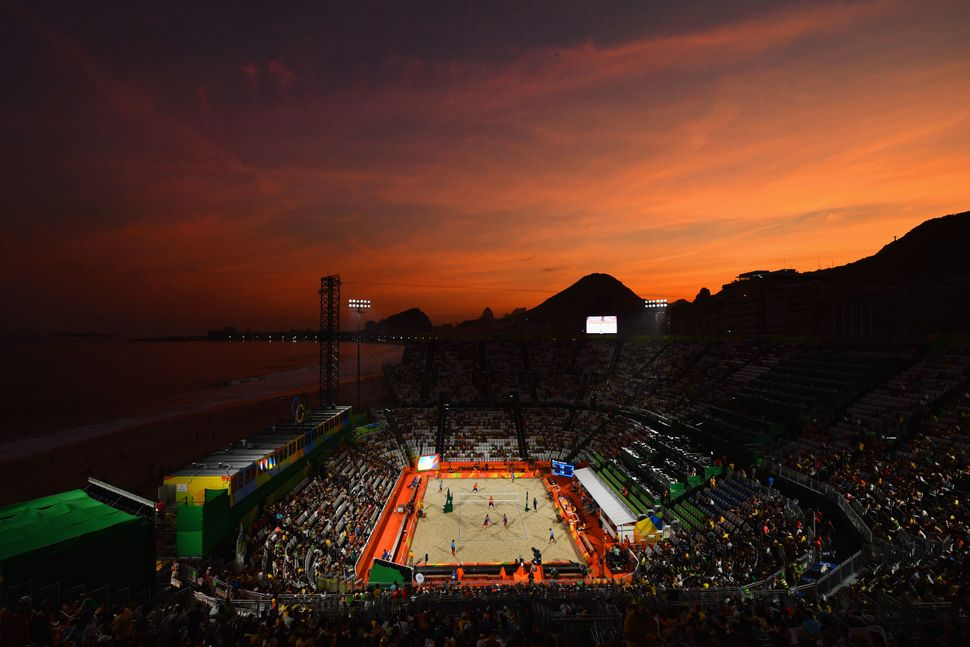 A general view as the sun sets on Day 1 of the Rio 2016 Olympic Games at the Beach Volleyball Arena on Aug. 6, 2016.