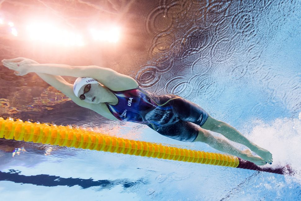 USA's Katie Ledecky competes in a Women's 200m Freestyle heat during the swimming event at the Rio 2016 Olympic Games at the