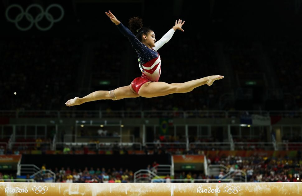 Lauren Hernandez of the United States competes on the balance beam during the Artistic Gymnastics Women's Team Final on Day 4