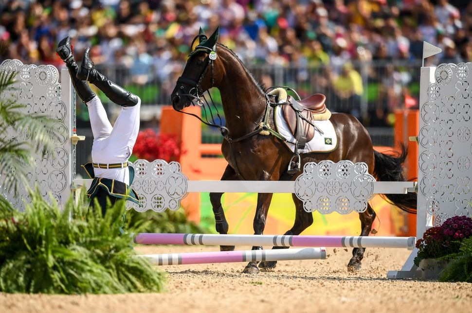Ruy Fonseca of Brazil, on Tom Bombadill Too, during the Eventing Team Jumping Final at the Olympic Equestrian Centre, Deodoro