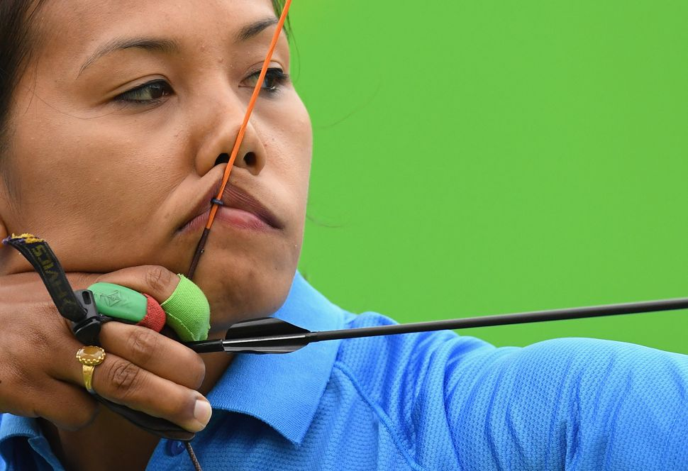 Bombayla Devi Laishram of India competes in the Women's Individual round of 32 Elimination Round on Day 5 of the Rio 2016 Oly