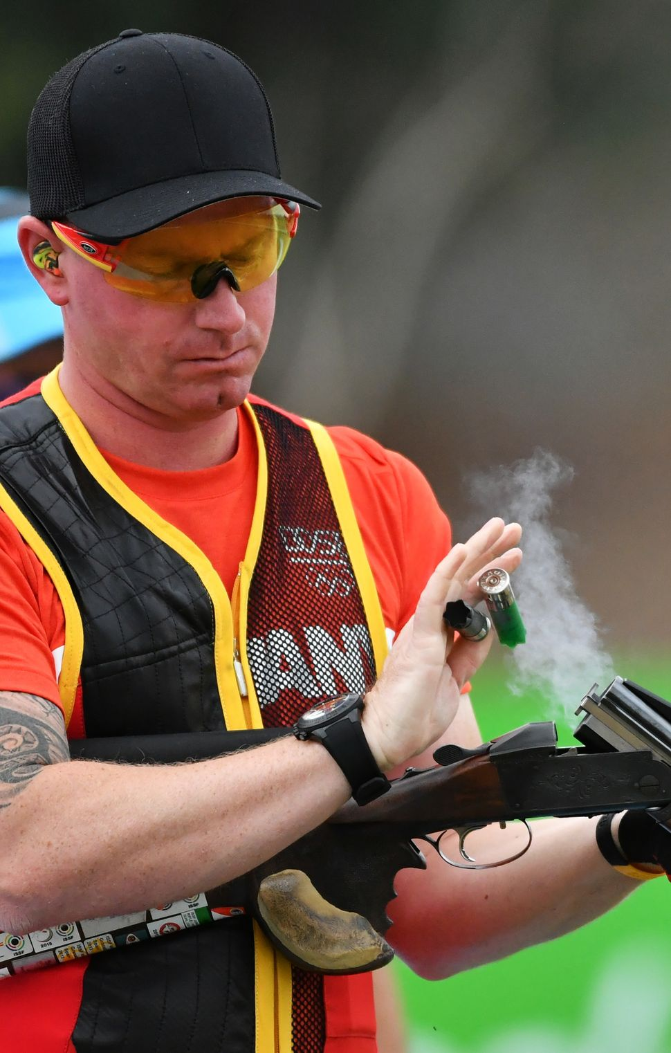 Germany's Andreas Loew competes in the men's double trap qualification during the Rio 2016 Olympic Games at the Olympic Shoot