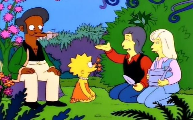 Hank Azaria voices Apu, seen here with Lisa, as well as Paul and Linda