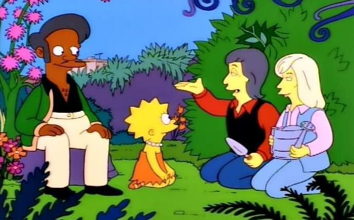 Hank Azaria voices Apu, seen here with Lisa, as well as Paul and Linda McCartney.