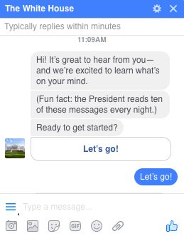 The White House's Messenger bot automatically sends you this response if you request to message them on Facebook.