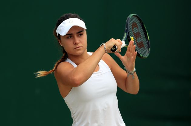 Gabriella Taylor in action in the girls singles on day ten of the Wimbledon