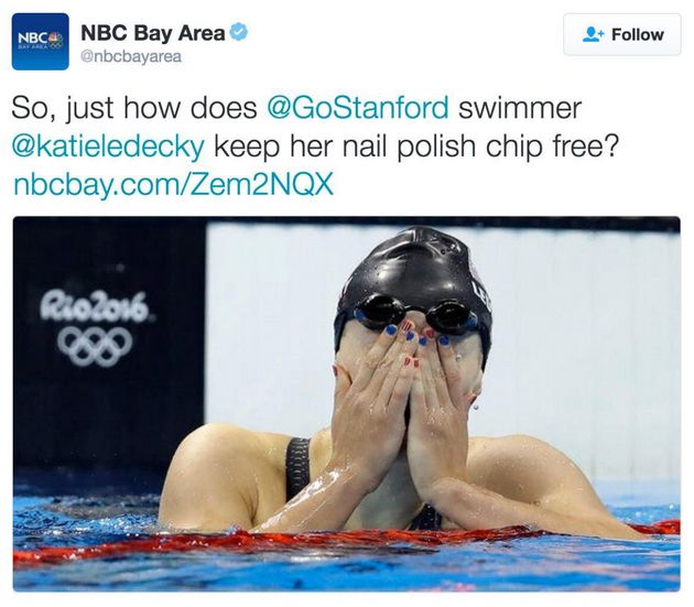 NBC's deleted tweet on Katie Ledecky's nail