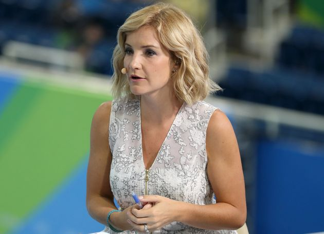 Helen Skelton presents the BBC's swimming coverage from the at the Olympic Aquatics Stadium on the fourth...